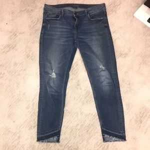 Zara ankle distressed jeans